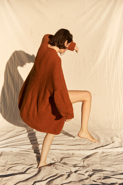 Oversized hand knitted coat