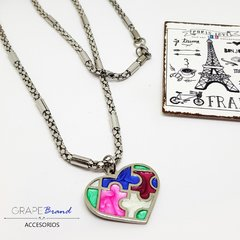 CO 045 - Collar Corazon Puzzle (Acero Quirurgico) en internet
