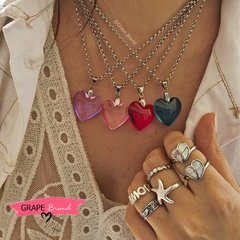 CO 058 - Cadena con corazon cristal rosa (ACERO 316) - Grape Brand