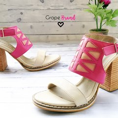 Sandalias SIENNA - Cuero Natural, Fucsia y Rosa - Grape Brand