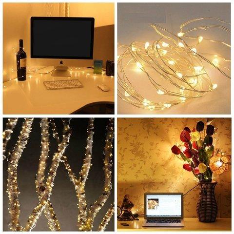 Guirnalda de alambre plateado con luces led c lidas 2m - Luces led calidas ...