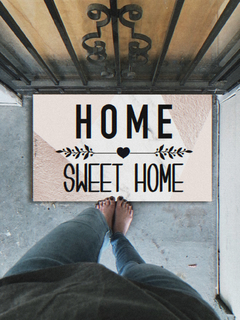 TAPETE 60x40CM - HOME SWEET HOME ROSÊ GOLD