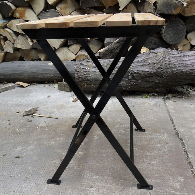 Banco plegable de madera y hierro negro - Banco madera exterior ...