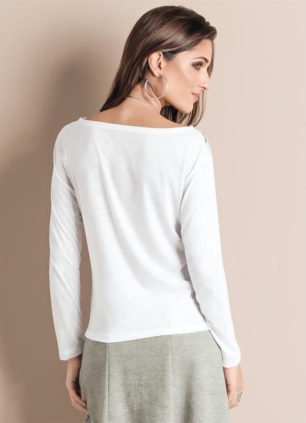 b27ecd0f3 Blusa Manga Longa Branca Estampada Frontal