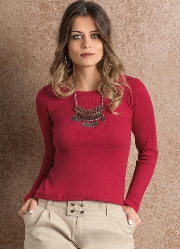 3ce462d53 Blusa Vermelha Manga Longa com Decote Redondo
