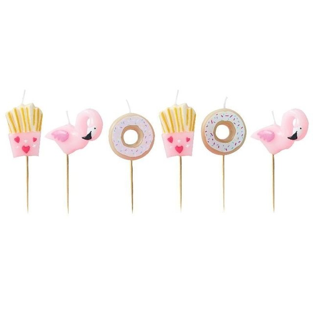 VELAS IMPORTADAS  FLAMINGOS, FRIES Y DONUTS X 6