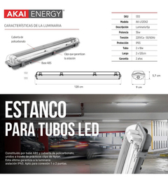 Liston Plafon Artefacto Estanco 2 Tubos Led 18w Ip65 120cm - comprar online