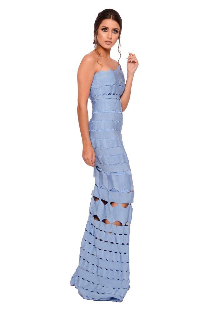 Vestido de festa azul bebe longo