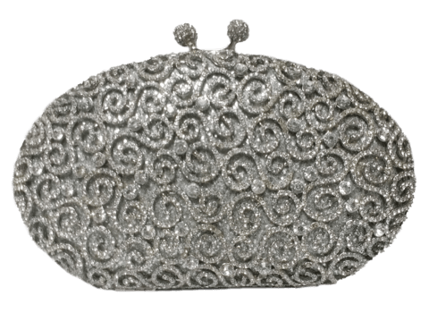 Clutch Oval Arabescos Prateada