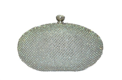 Clutch Oval Prata com Strass