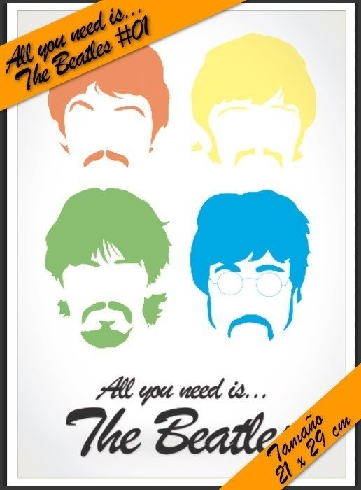 All You Need is Beatles #04! - Lamina Autoadhesiva 21 x 29 cm - Precio 2 x 1 !