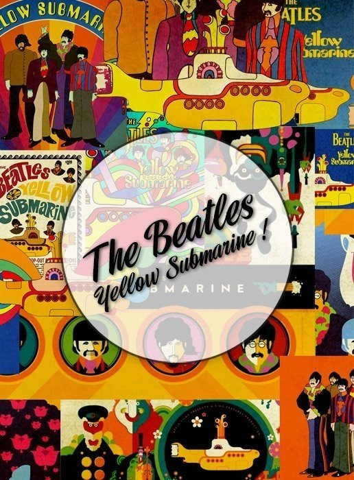 Beatles Yellow Submarine! Lámina Decoupage Autoadhesiva 30 x 42 cm