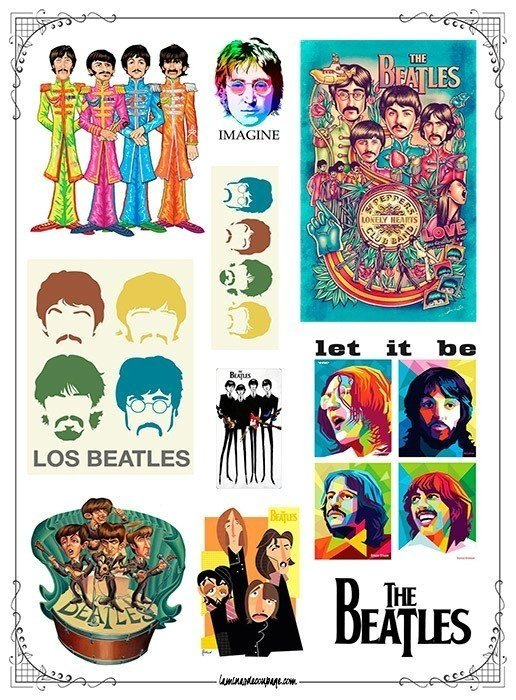 The Beatles #01! Lámina para Transferencias 21 x 29 cm