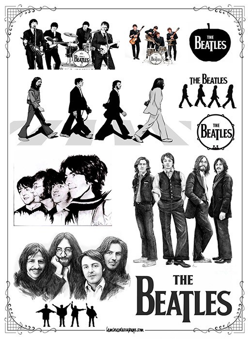 The Beatles #02! Lámina para Transferencias 21 x 29 cm