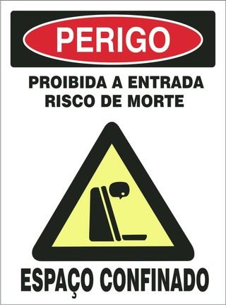 503c69dc22a Placa de Perigo Proibida A Entrada Risco De Morte Espaço Confinado