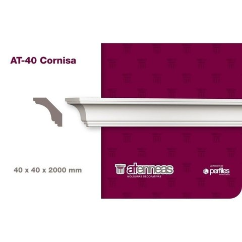 Moldura Cornisa Decorativa AT-40 por 2m Atenneas