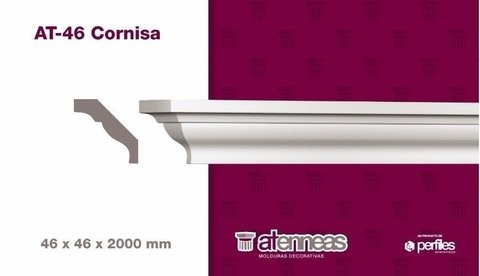 Moldura Cornisa Decorativa AT-46 por 2M Atenneas-Pinturerias Mafer
