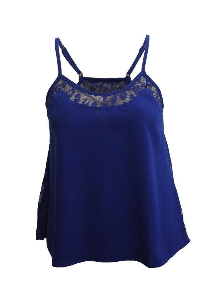 Blusa Feminina de Alça com Detalhe Renda Lateral Azul Royal - Leboh 3b645b6055a