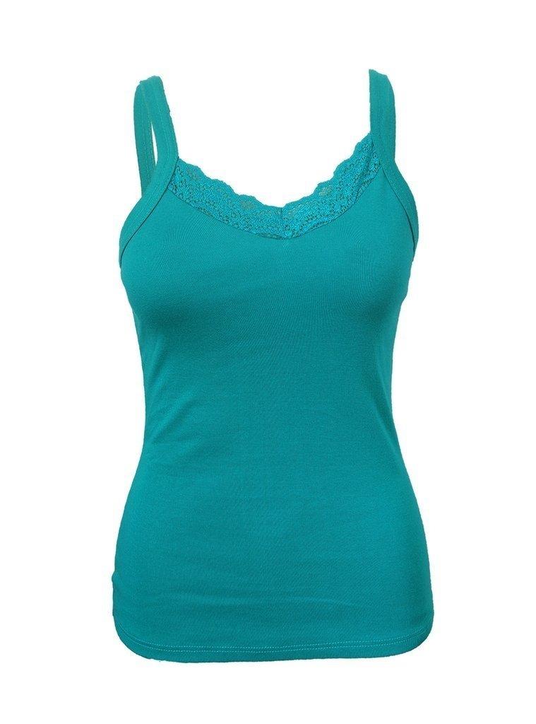 1a6a621a4 Blusa de Alça Feminina com Renda Verde - Marialicia