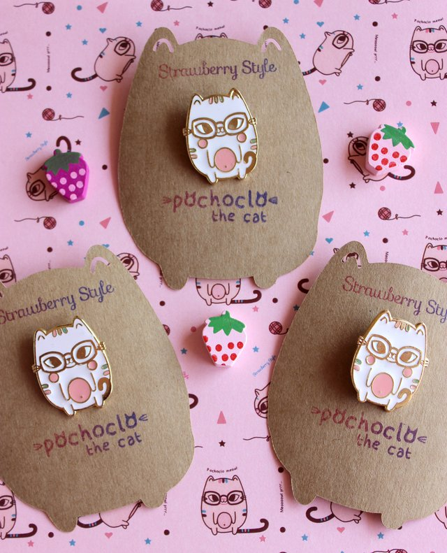 Pines de Enamel - Pochoclo The Cat - Strawberry Style