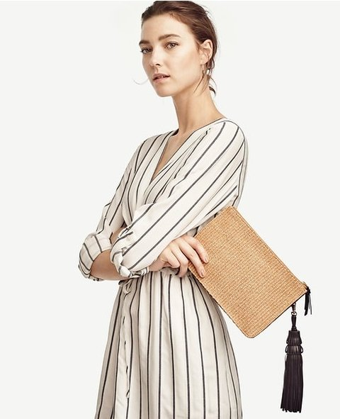 Straw Tassel Clutch on internet