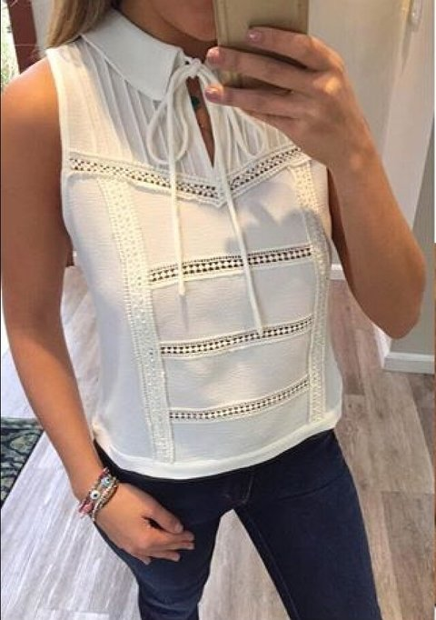 Top Cropped Liso Renda