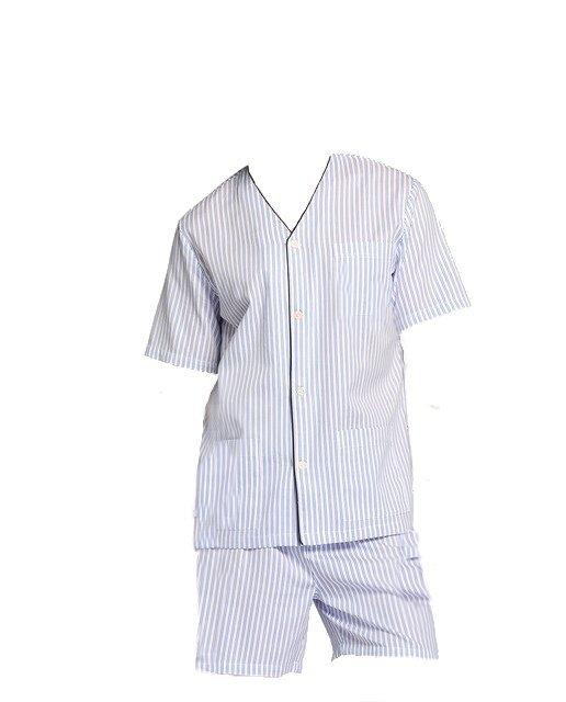 Pijama 100% algodón Tela Camisa Manga corta pantalon corto Polo Club 6f2db957aa23a