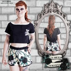 Skulls & Black Roses Top Cropped and Shorts Set