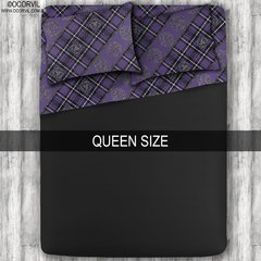 Celtic Skulls on Purple Plaid Black Sheet Set, Queen