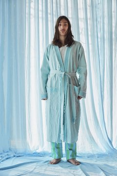 Hand-Dyed velvet and canvas robe nº121