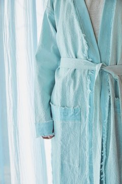 Hand-Dyed velvet and canvas robe nº121 - buy online