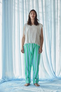 Hand-Painted canvas striped pants - buy online