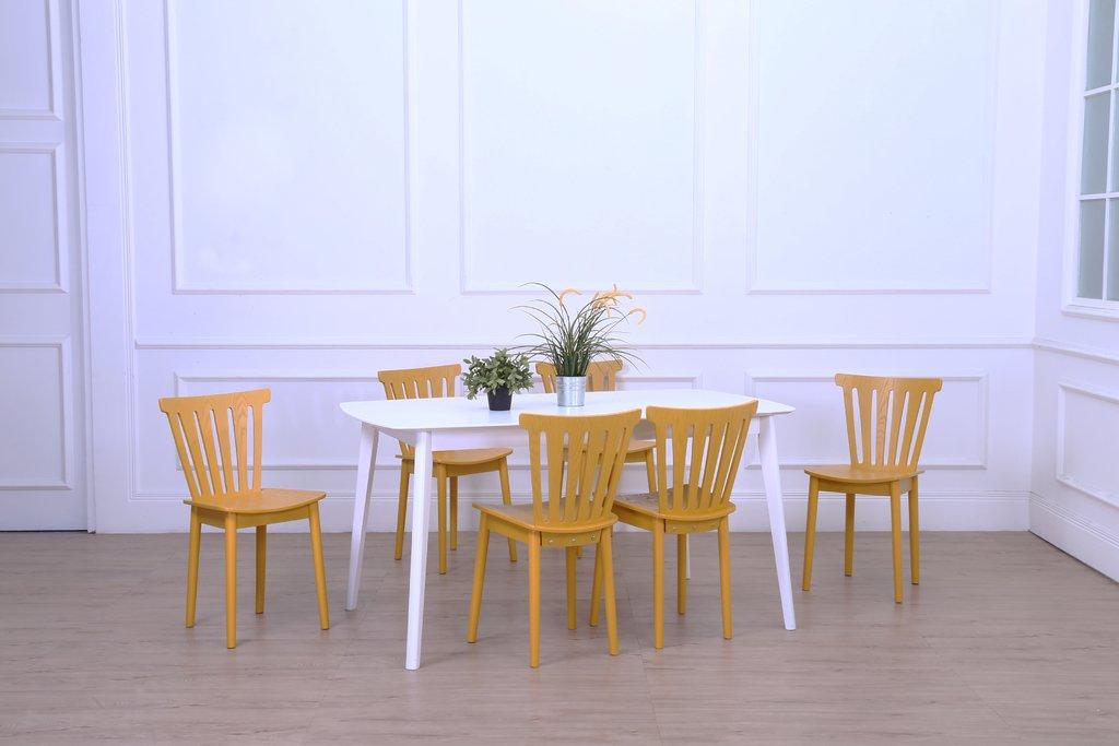 Juego de comedor mallorca mesa extensible sillas amarillas for Sillas amarillas comedor
