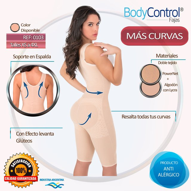Faja reductora enteriza hasta rodillas 0103 - Fajas Body Control
