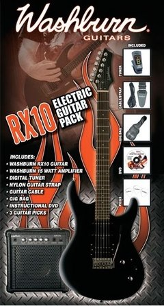 Kit Guitarra Washburn RX10 Pack Preta - GT0010