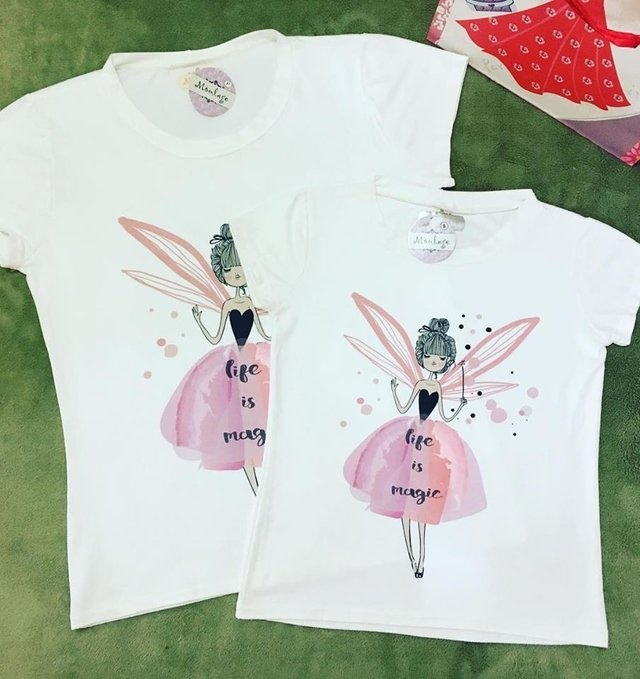 Kit t-shirts mãe e filha life is magic