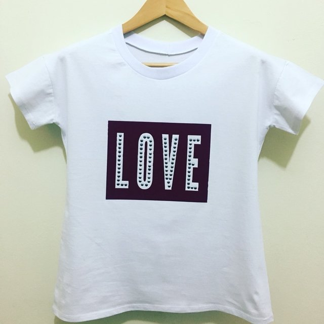 T-shirt gola careca manga curta M/M LOVE