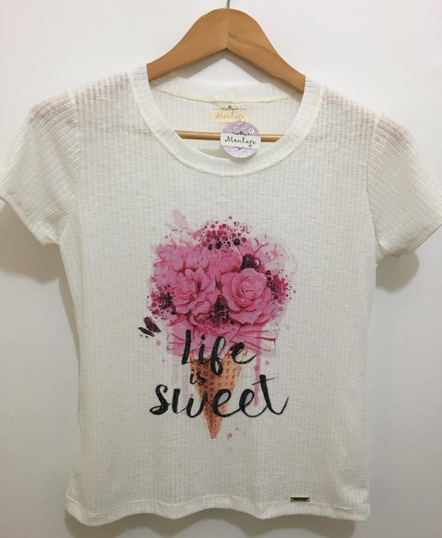 T-shirt gola careca manga curta LIFE IS SWEET