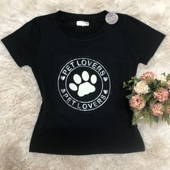 T- shirt gola careca manga curta PET LOVERS