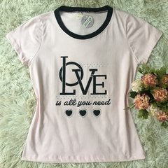 T-shirt gola careca manga curta LOVE IS ALL YOU NEED