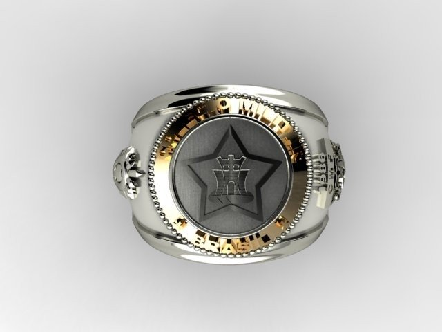 Silver Military College Ring with detail in 18k Yellow Gold