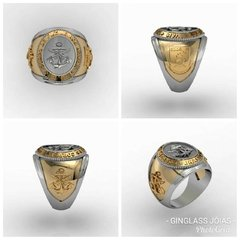18k Gold Marine Corps Ring with Silver
