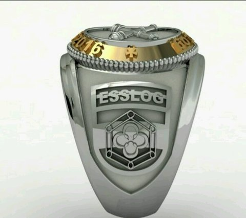 Ring Material of the School of Logistics sergeants in silver with detail in yellow gold