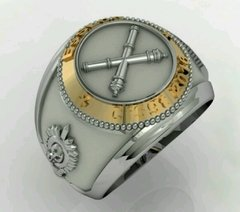Ring Material of the School of Logistics sergeants in silver with detail in yellow gold - online store