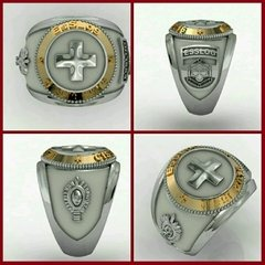 Health Ring of the School of Logistics sergeants in silver with 18k gold
