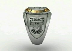 Health Ring of the School of Logistics sergeants in silver with 18k gold -  Ginglass personalização de joias