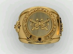 Cavalry ring of the School of arms sergeants in 18k yellow gold - buy online
