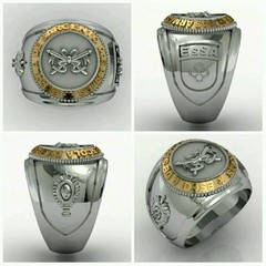 Cavalry Ring School of weapons sergeants in silver with 18k gold