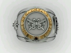 Cavalry Ring School of weapons sergeants in silver with 18k gold - buy online