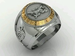 Cavalry Ring School of weapons sergeants in silver with 18k gold - online store